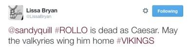 Lissa tweet dead Rollo