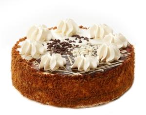 freshly baked cake on white background